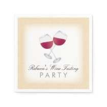 Red Wine, Personalized Wine Tasting Party Napkin