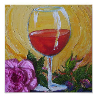 Red Wine & Pink Rose Art Poster