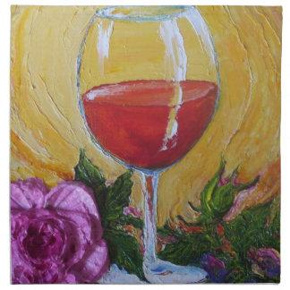Red Wine & Pink Rose Bar Napkin