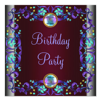 Red Wine Purple Teal Blue Birthday Party Card