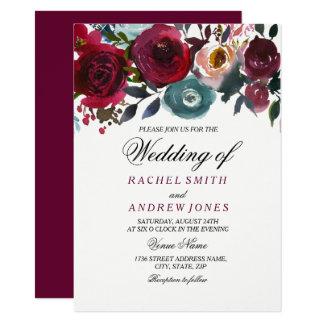 Red Wine Romantic Burgundy Wedding Invitation