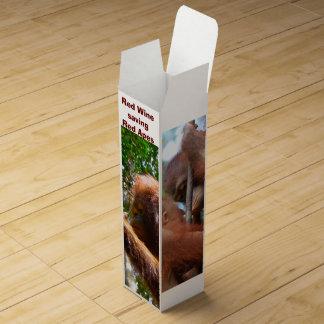 Red Wine Saving Red Apes Orangutans Wine Box