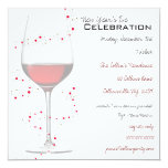 "Red Wine & Sparkles New Year's Invitations 5.25"" Square Invitation Card"