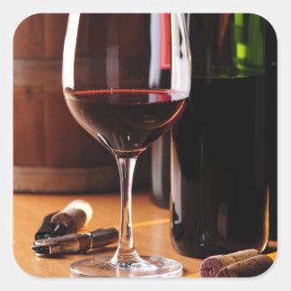 Red Wine Square Sticker