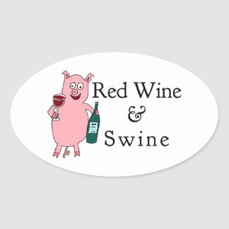 Red Wine & Swine Oval Sticker
