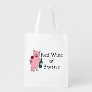 Red Wine & Swine Reusable Grocery Bag