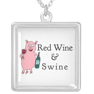 Red Wine & Swine Square Pendant Necklace