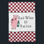 "Red Wine &amp; Swine Towel<br><div class=""desc"">Ham,  ribs,  chops or tenderloin - roasted,  smoked or barbecued - swine is better with wine.  Art &amp; design by Victoria Lynn Hall.</div>"