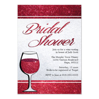 Red Wine Tasting Bridal Shower Invitation
