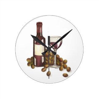 Red Wine Tasting Glass Bottle Grapes Clock