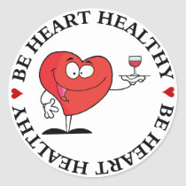 Red Wine Toast to Heart Health Classic Round Sticker