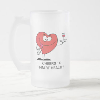 Red Wine Toast to Heart Health Frosted Glass Beer Mug