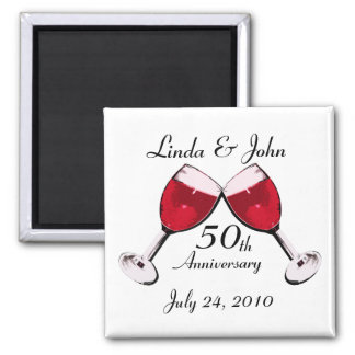 Red Wine Toast to Love 2 Inch Square Magnet