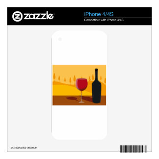 Red wine Tuscany Decals For The iPhone 4S