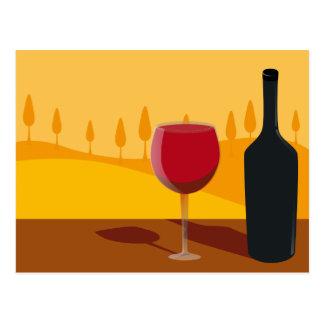 Red wine Tuscany Postcard