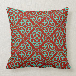 Red Wine Vintage Chinese Square Floral Throw Pillow