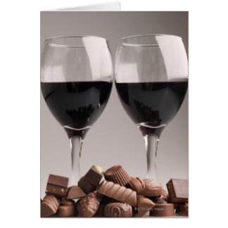 red wine with chocolates card
