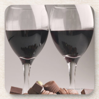 red wine with chocolates drink coaster