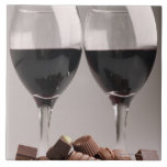 red wine with chocolates large square tile