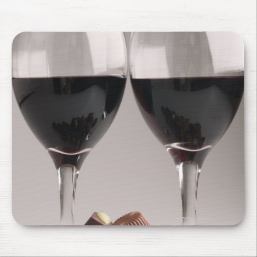 red wine with chocolates mouse pad
