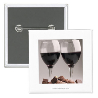 red wine with chocolates pinback button