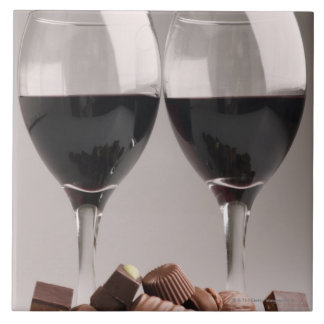 red wine with chocolates tile