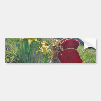 red wing fairy and daffodils bumper stickers