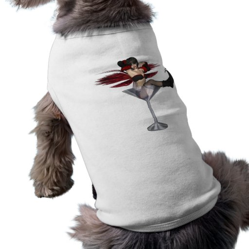 Red Wing Fairy Girl In Martini Glass Doggie T-shirt