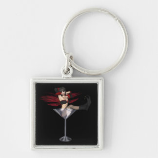 Red Wing Fairy Girl In Martini Glass Keychain