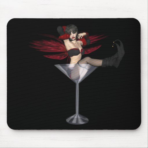 Red Wing Fairy Girl In Martini Glass Mousepad