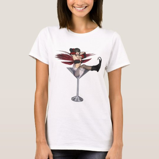 Red Wing Fairy Girl In Martini Glass T-Shirt