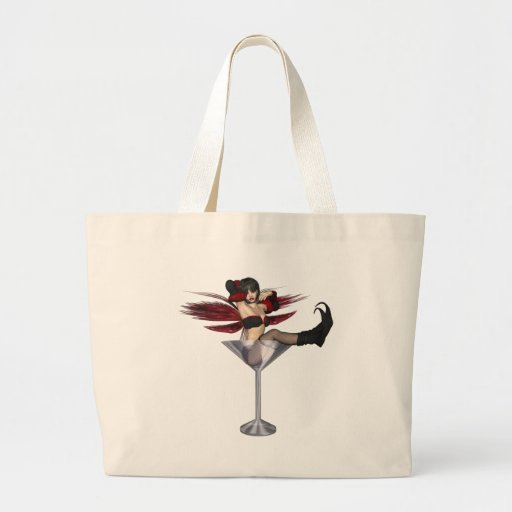 Red Wing Fairy Girl In Martini Glass Tote Bags