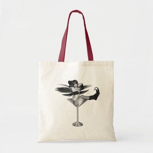 Red Wing Freaky Fairy Girl Martini Glass 3D Budget Tote Bag