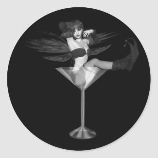Red Wing Freaky Fairy Girl Martini Glass 3D Classic Round Sticker