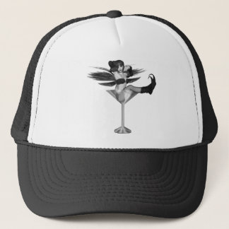 Red Wing Freaky Fairy Girl Martini Glass 3D Trucker Hat