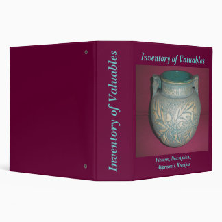Red Wing Jardinier Inventory of Valuables Binder