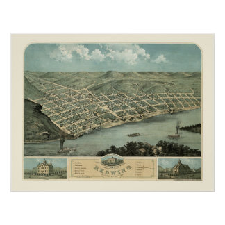 Red Wing, mapa panorámico del manganeso - 1868 Póster
