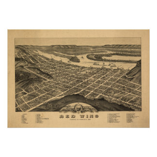 Red Wing Minnesota 1880 Antique Panoramic Map Poster