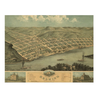 Red Wing MN 1868 Antique Panoramic Map Postcard