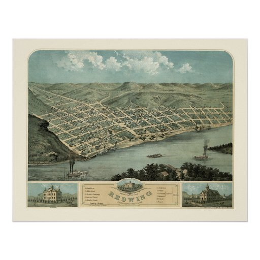 Red Wing, MN Panoramic Map - 1868 Poster