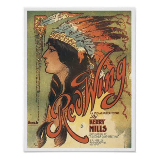 Red Wing Vintage Songbook Cover Poster