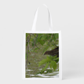 red winged black bird Fishing from a tree branch Market Tote