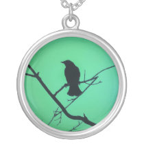 Red Winged Black Bird Silhouette on Green Silver Plated Necklace