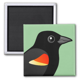 Red-winged Blackbird 2 Inch Square Magnet