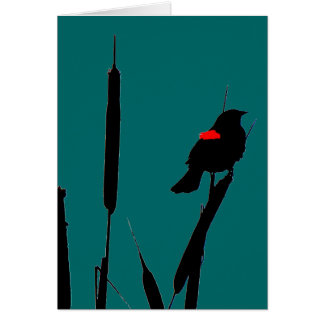 Red-winged Blackbird &Cat-tails Greeting Card