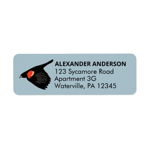 Red-Winged Blackbird in Flight Return Address Label