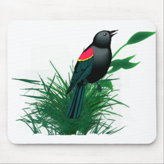 Red Winged Blackbird in Tall Grass Mouse Pad