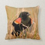 Red-winged Blackbird male singing Throw Pillow