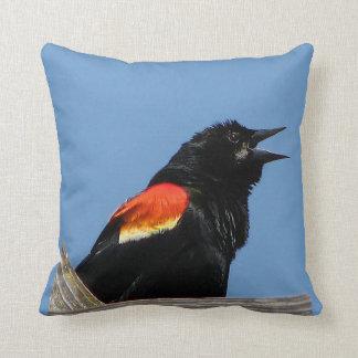 Red winged Blackbird Pillow