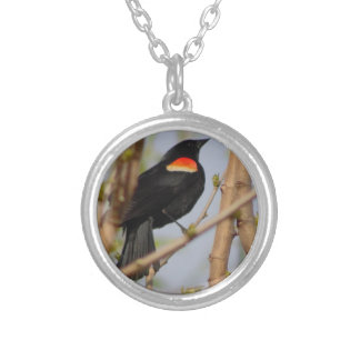 Red-winged Blackbird Round Pendant Necklace